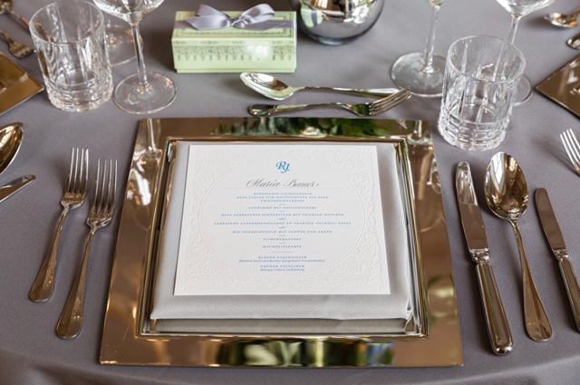 wedding menue card letterpress